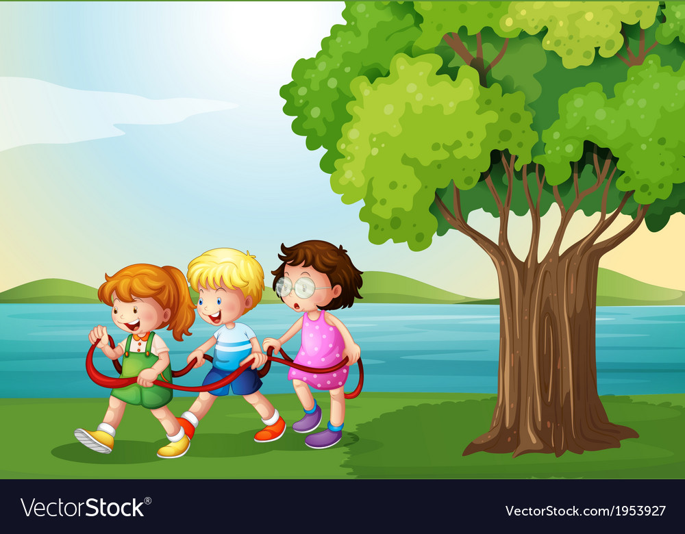 Three kids playing with the rope near the river vector
