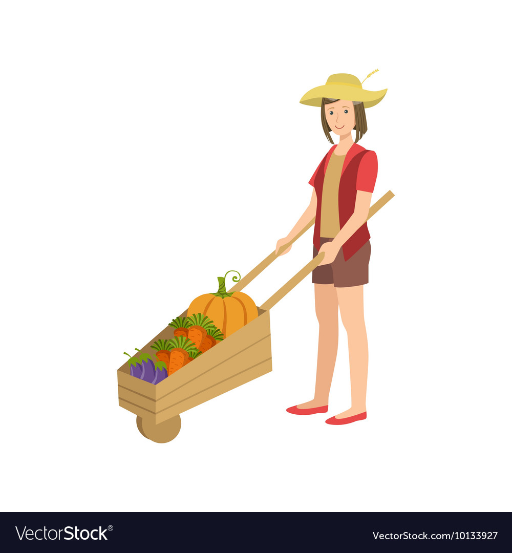 Woman with wooden wheel barrel filled vegetables vector