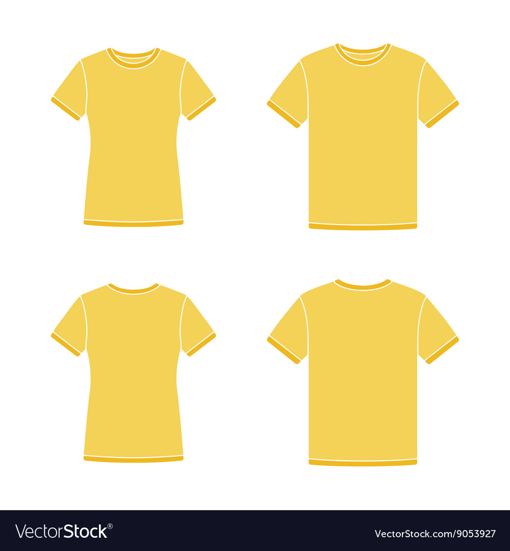 Yellow short sleeve tshirts templates vector