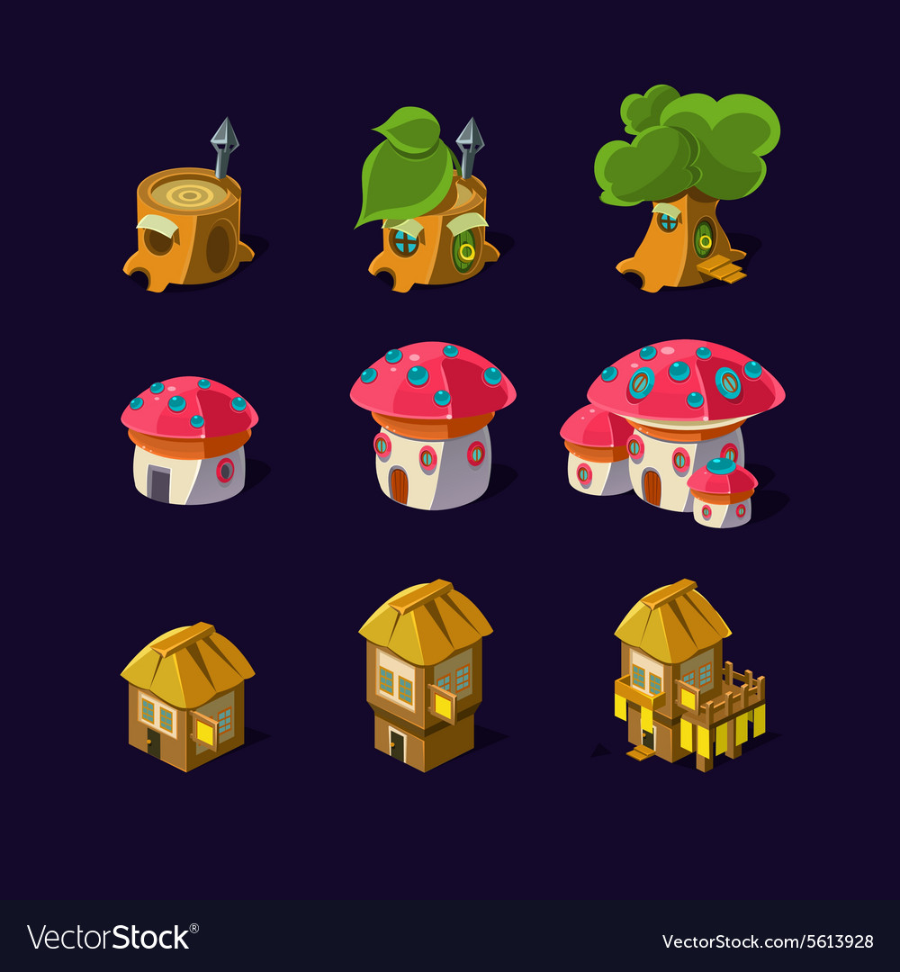 Cartoon element of the game fairy houses vector