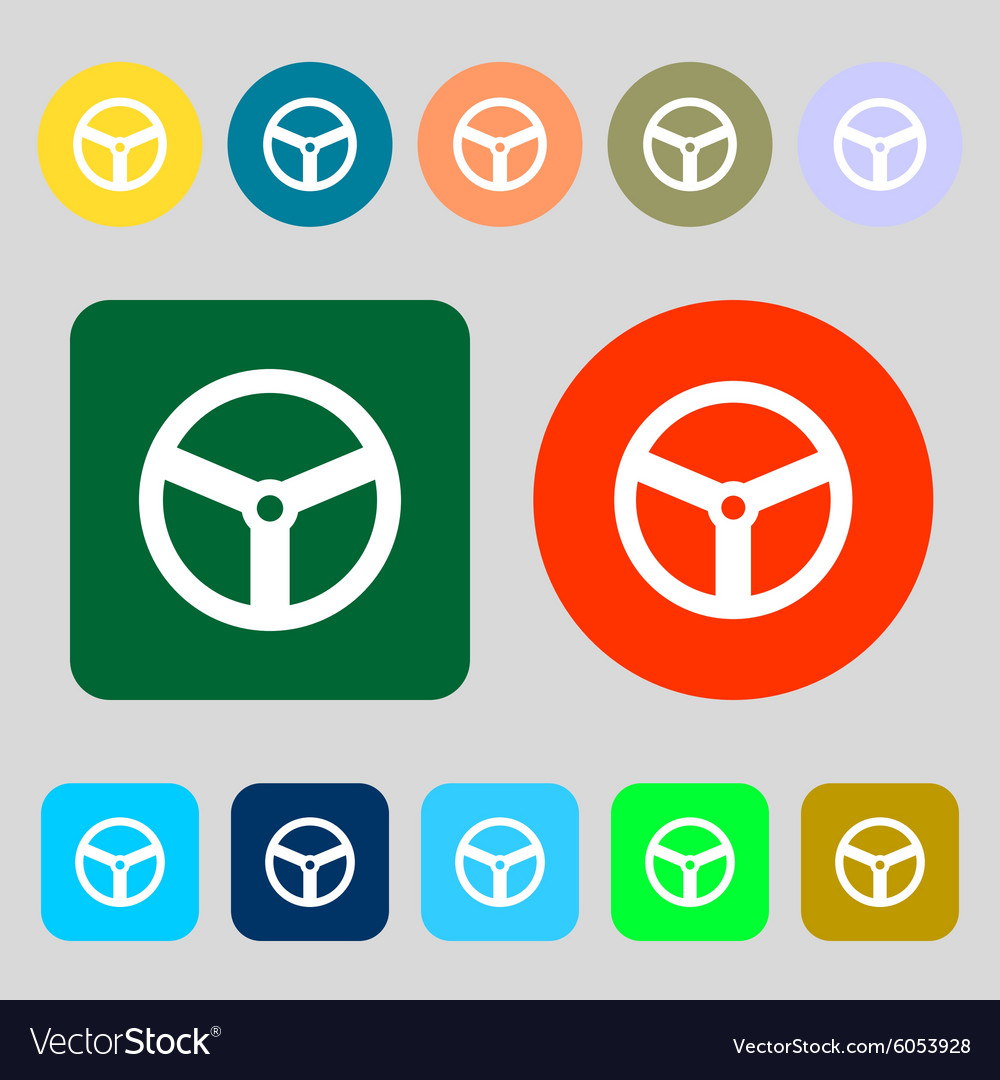 Steering wheel icon sign 12 colored buttons flat vector
