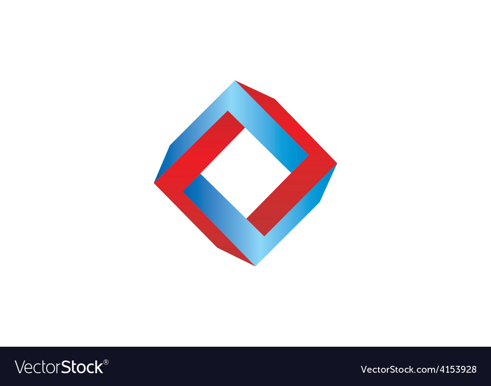 Unusual abstract shape square 3d logo vector