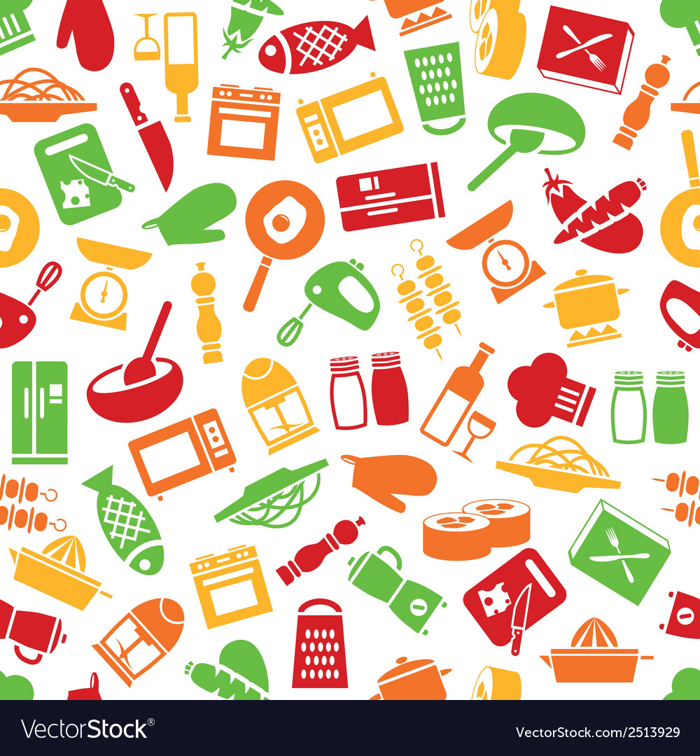 Cooking seamless pattern vector