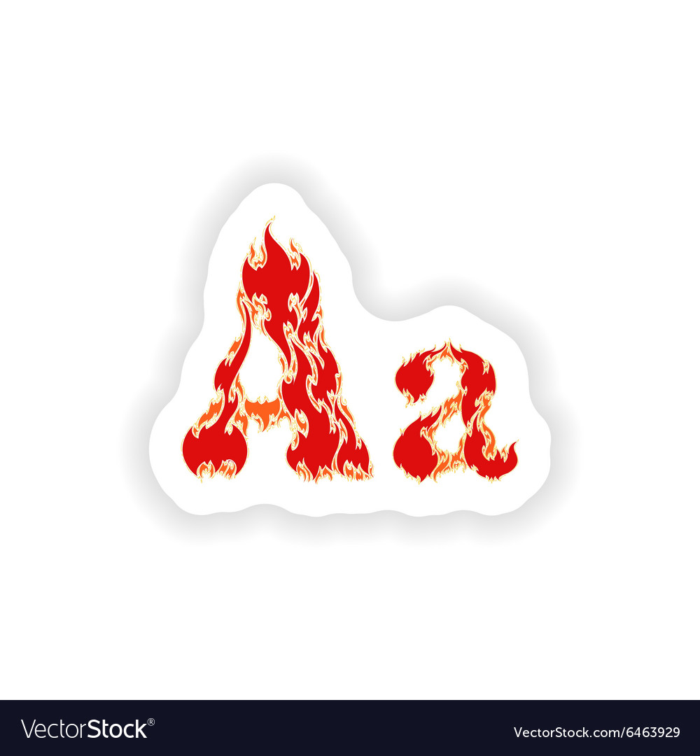 Sticker fiery font red letter a on white vector