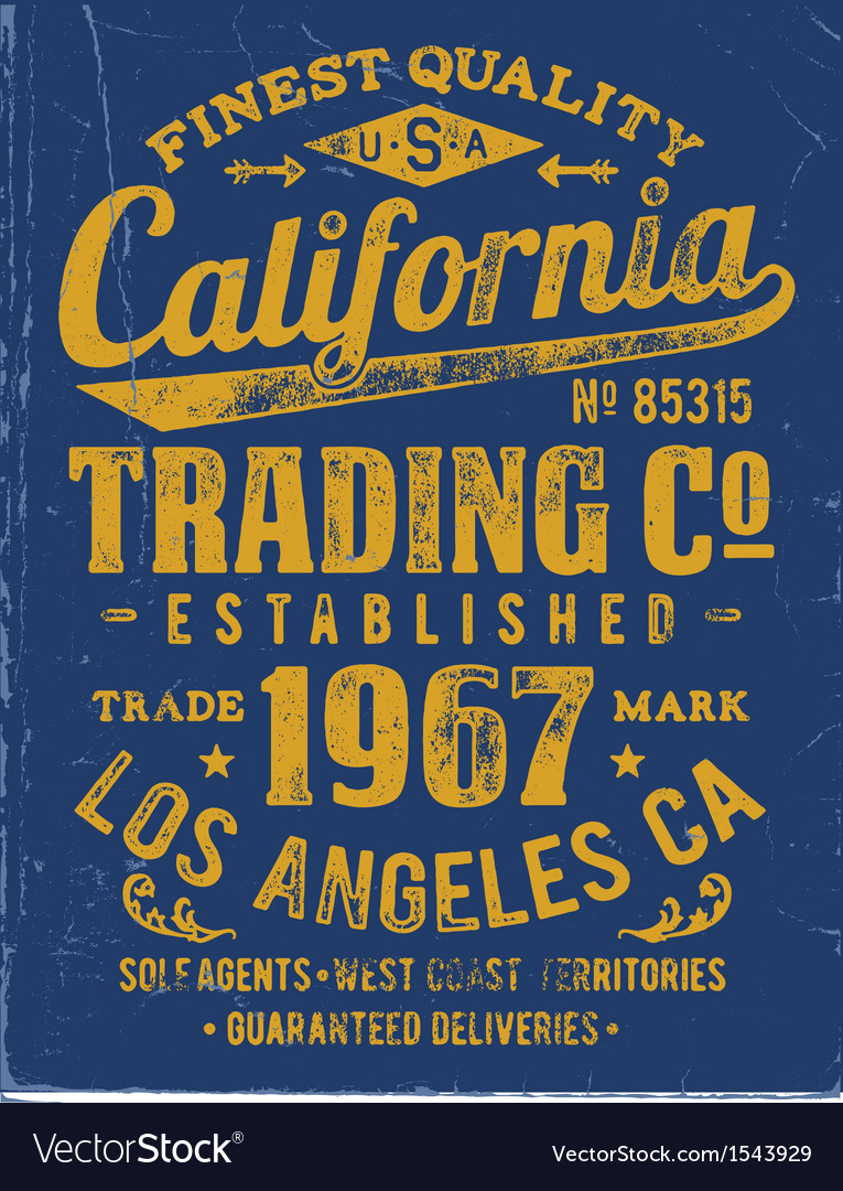 Vintage type lockup apparel design vector