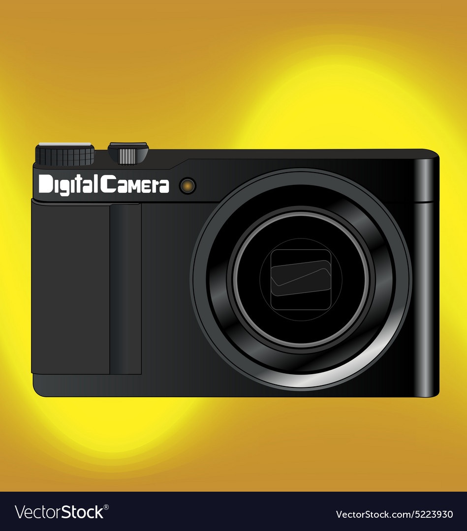 Digital camara gold background vector