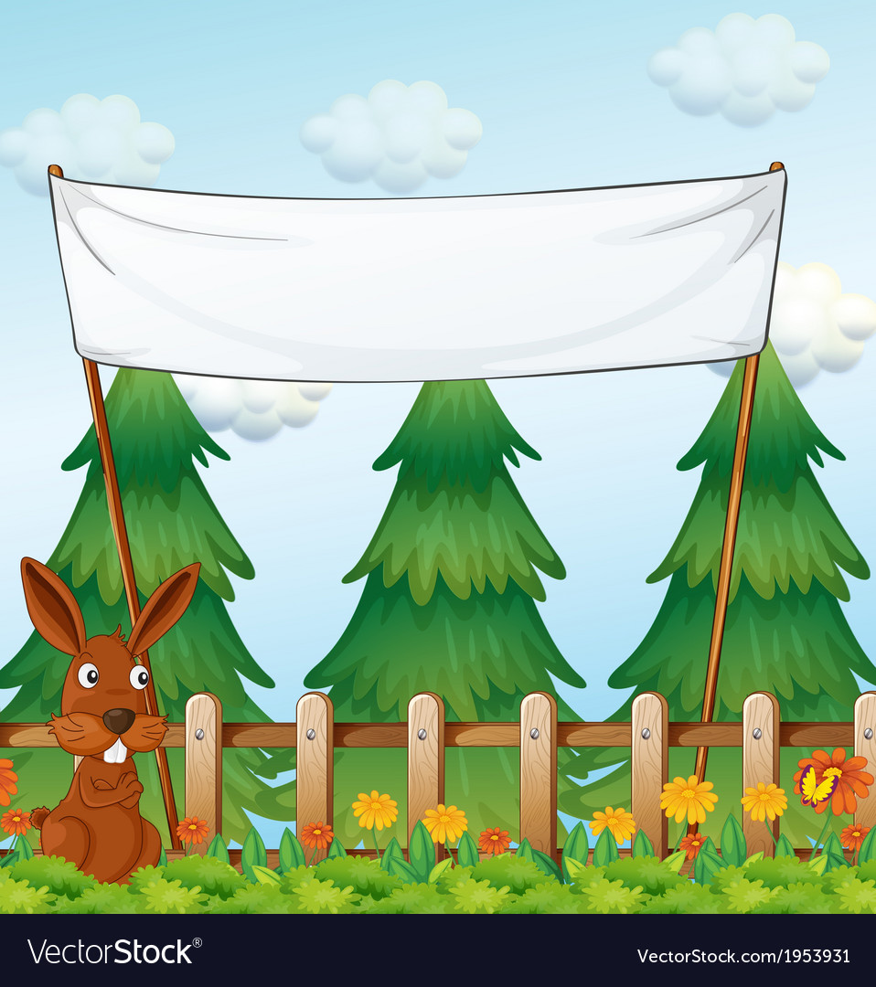 A bunny at the garden below the empty banner vector