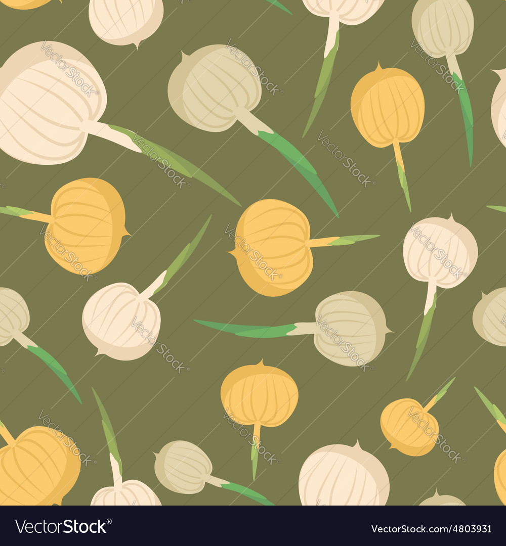 Onion seamless pattern vegetable onion background vector