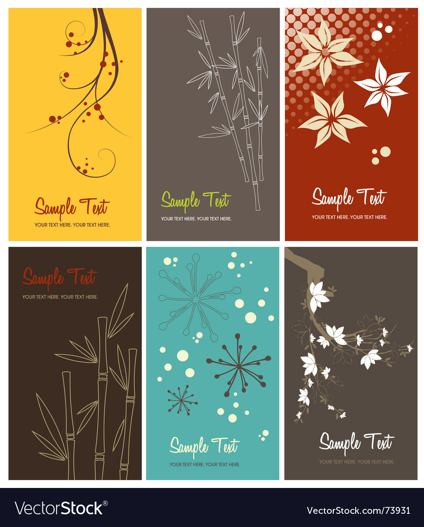 Set of floral business cards vector