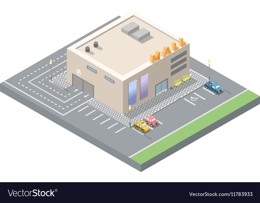 Isometric low poly mall shopping centre with vector