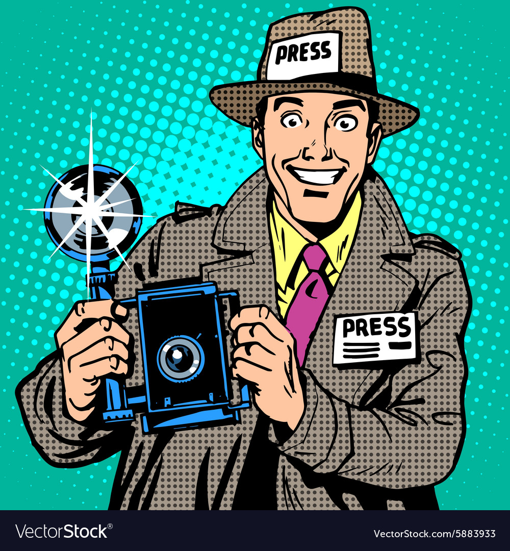 Photographer paparazzi at work press media camera vector