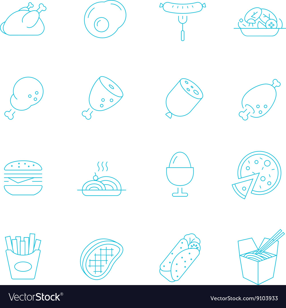 Thin lines icon set  western food vector