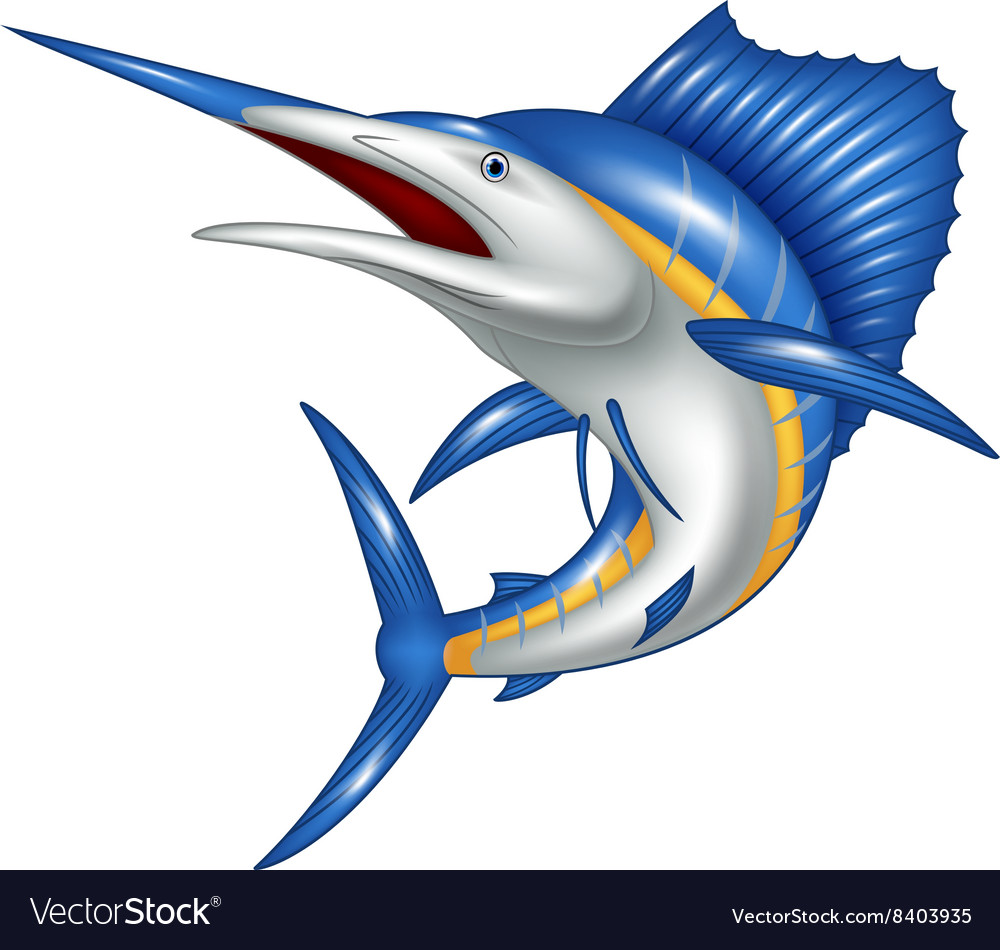 Blue marlin fish cartoon vector