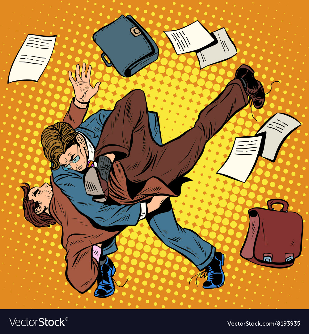 Fight men businessmen vector