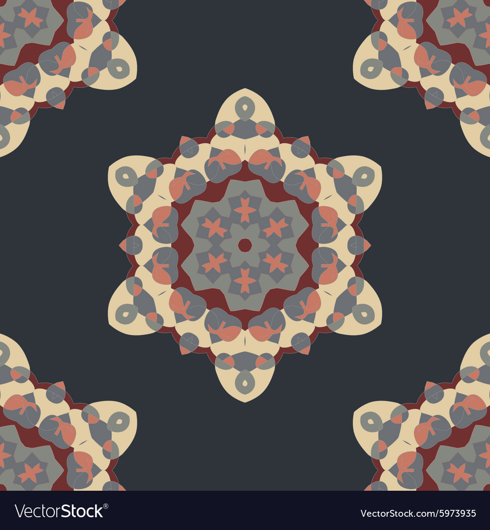 Seamless brown abstract retro ornate mandala vector