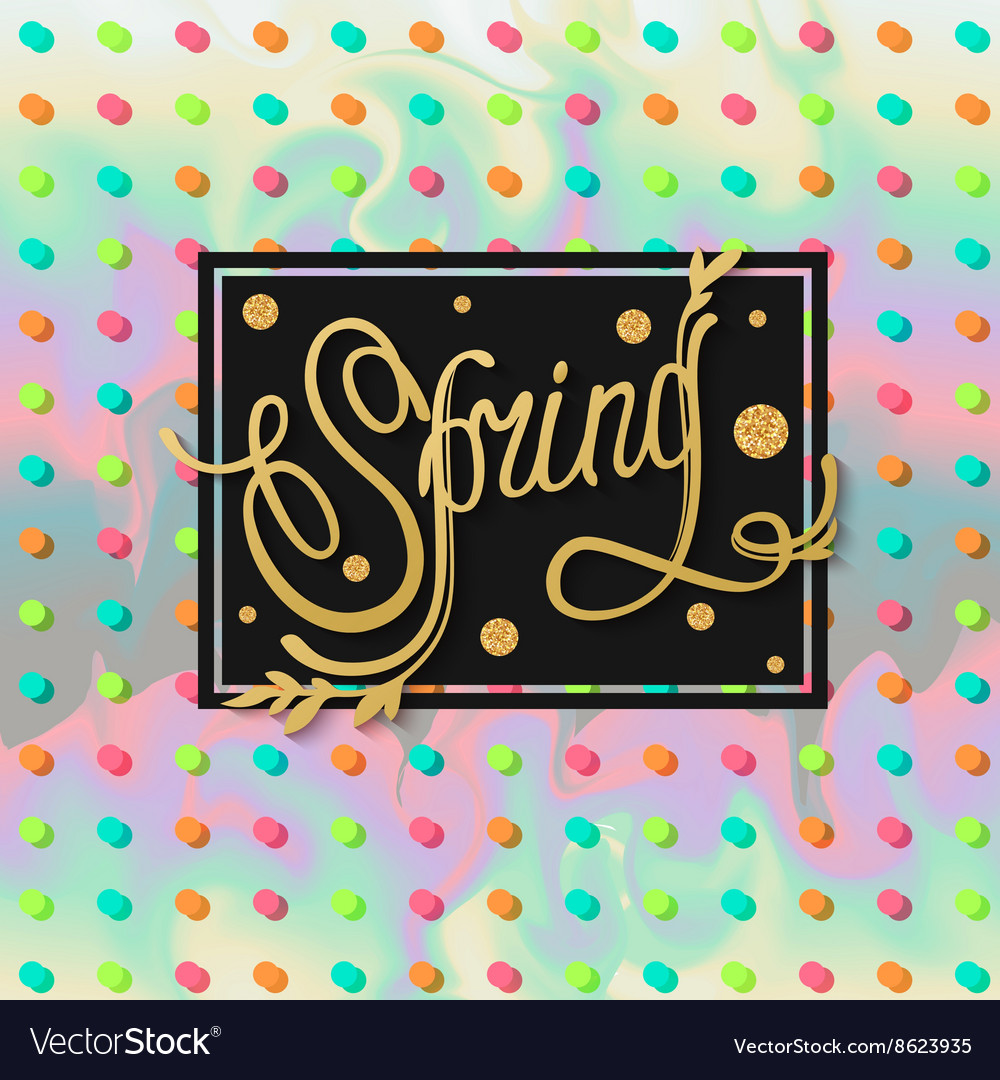 Spring background with gold text and polka dots vector