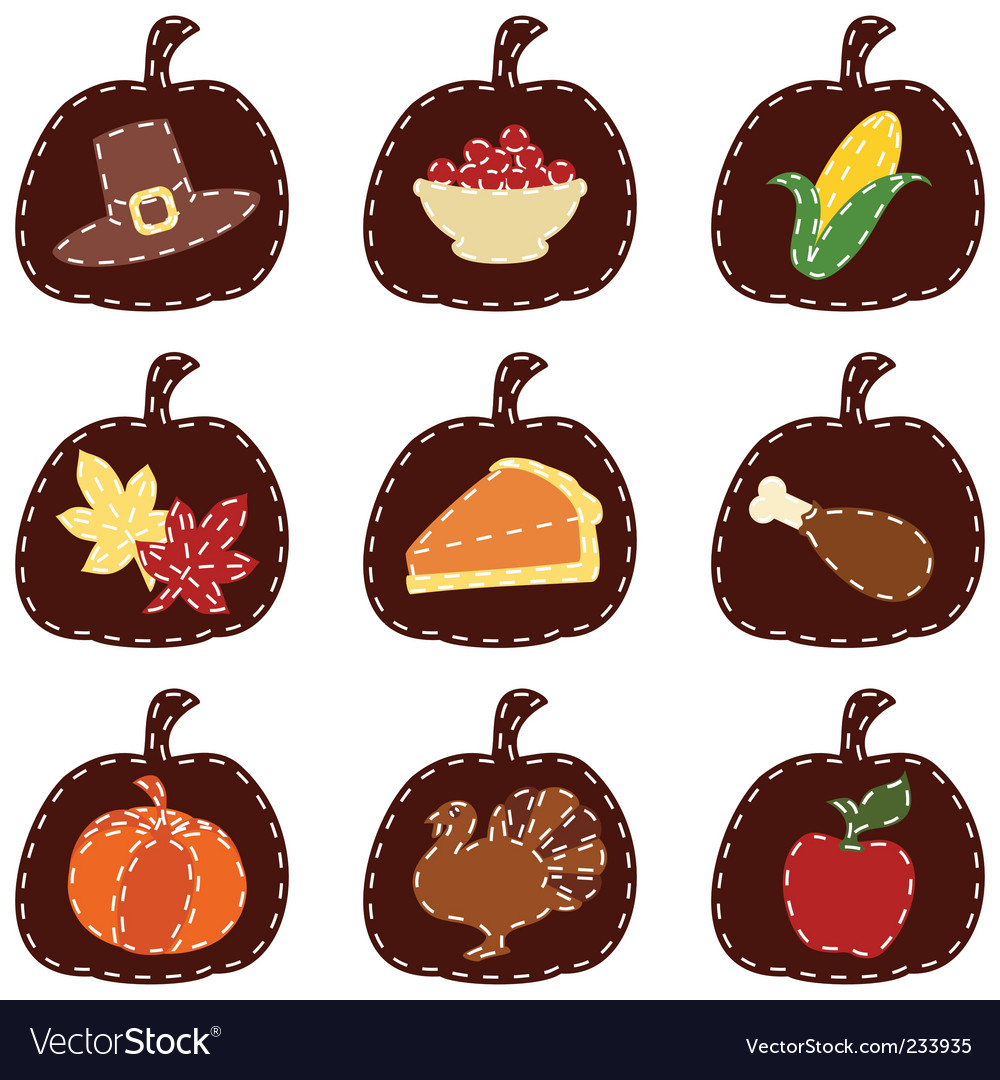 Thanksgiving icons vector