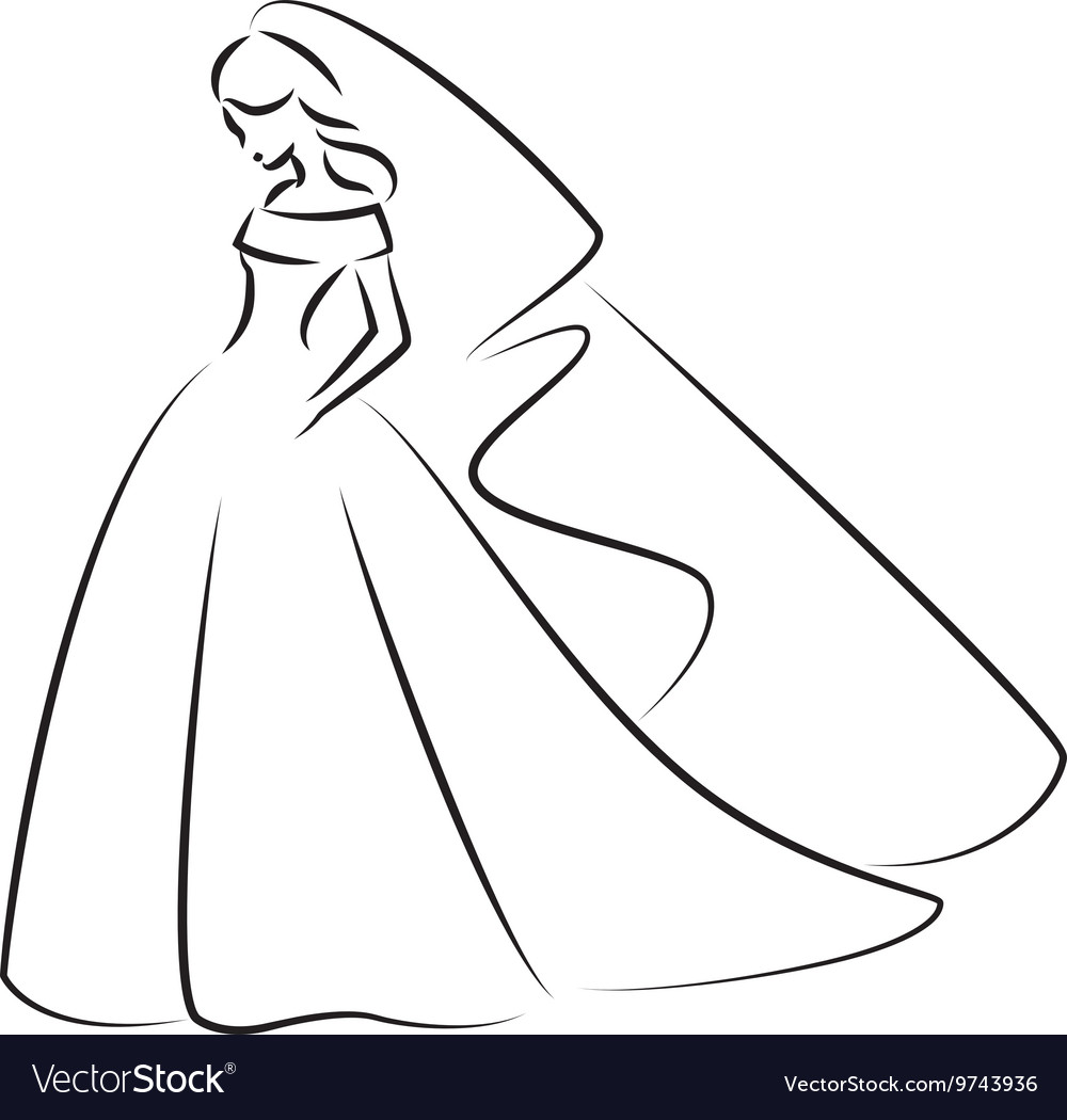 Abstract outline of a young elegant bride vector