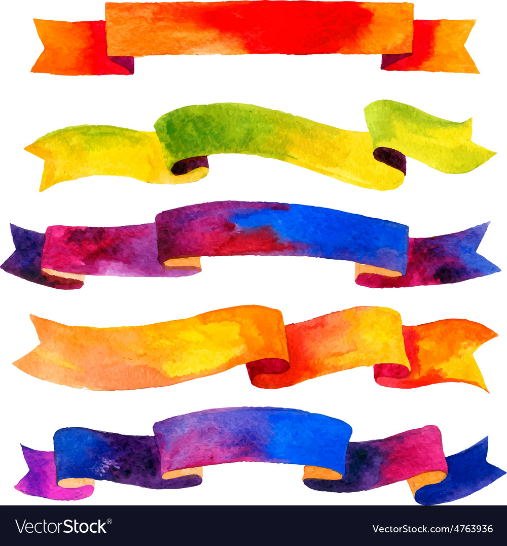Watercolors ribbons and banners for text vector