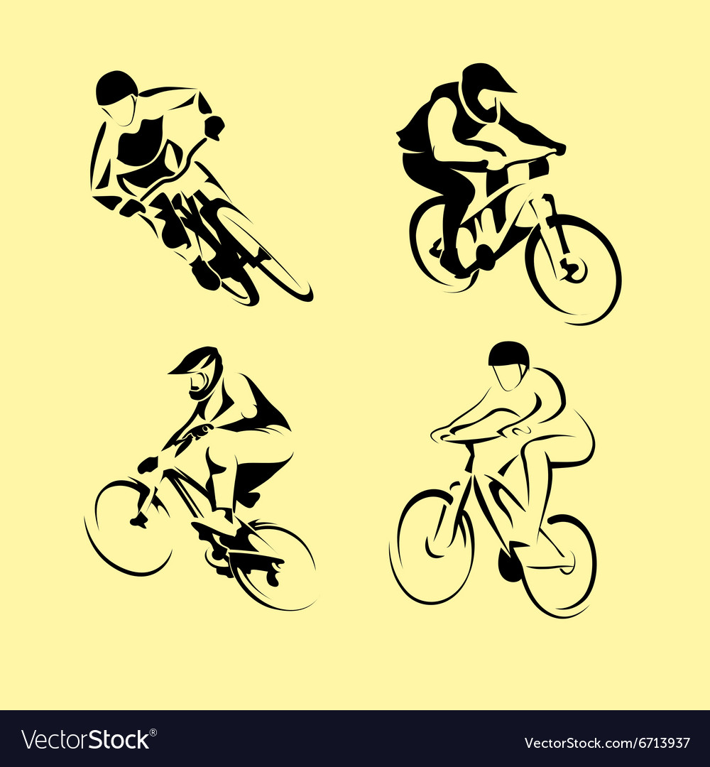 Mountain bicycle set vector
