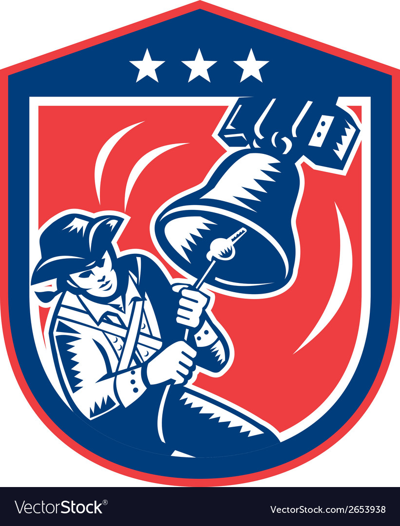 American patriot ringing liberty bell woodcut vector