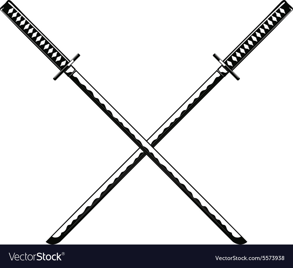 Crossed samurai swords isolated on white vector