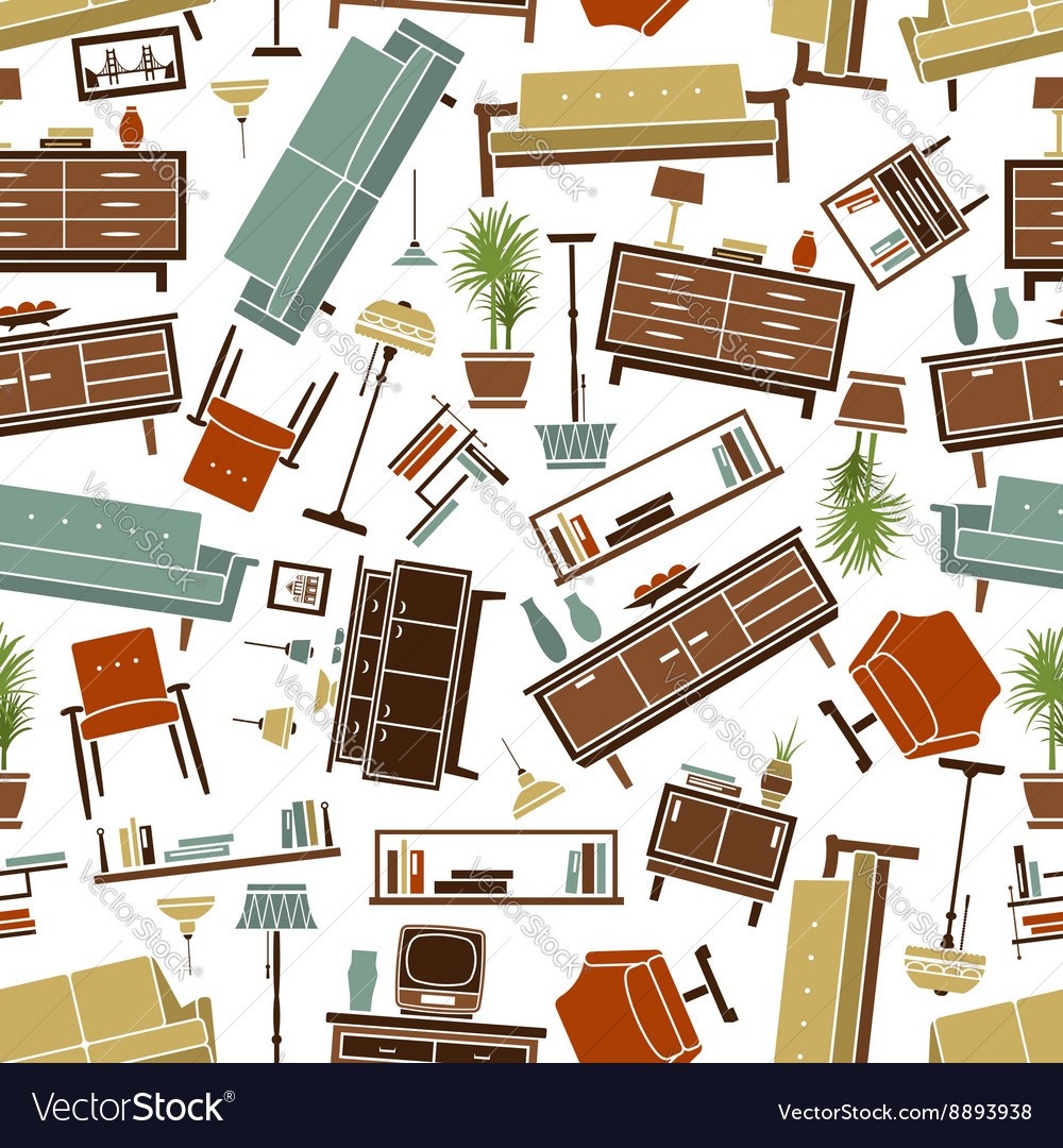 Retro furnishing seamless background pattern vector