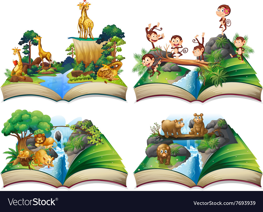 Book with wild animals in the jungle vector