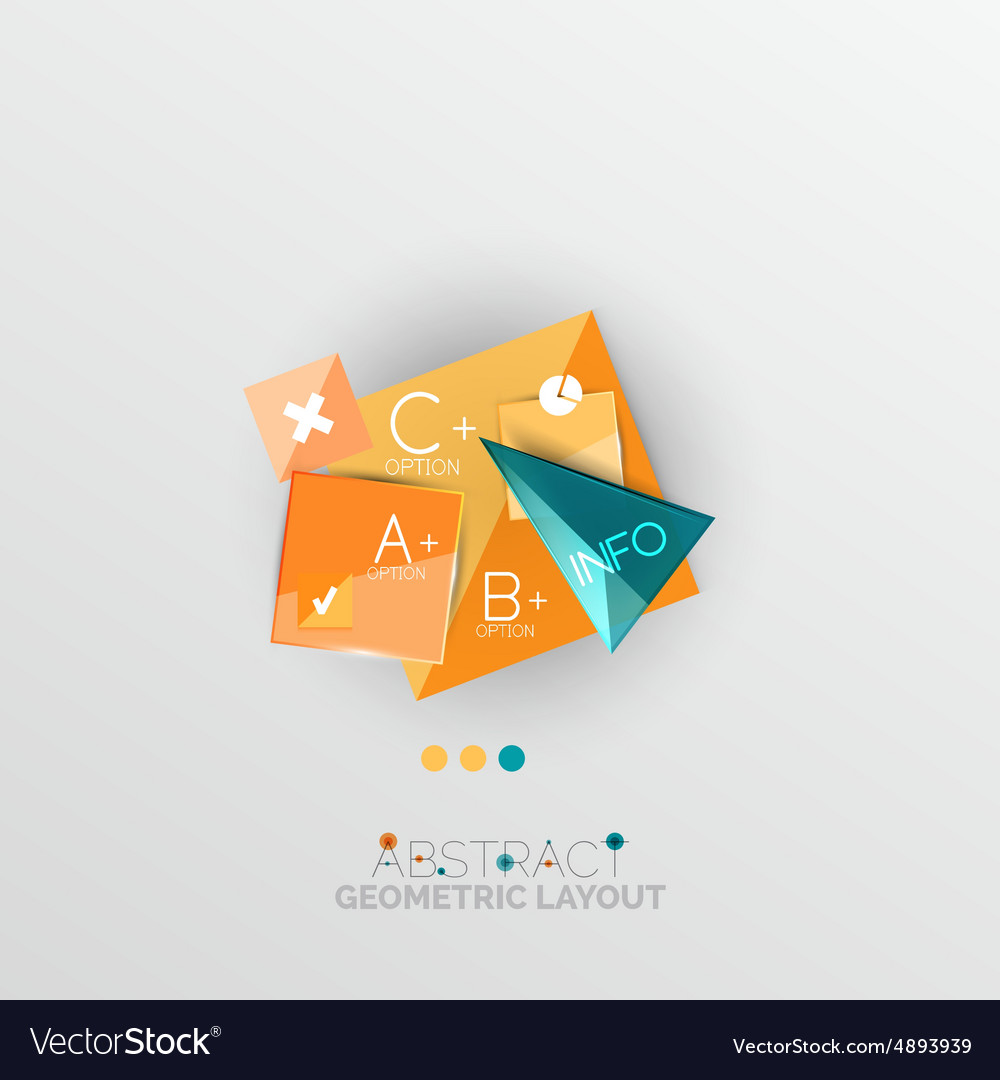 Glossy paper style geometric abstract infographic vector