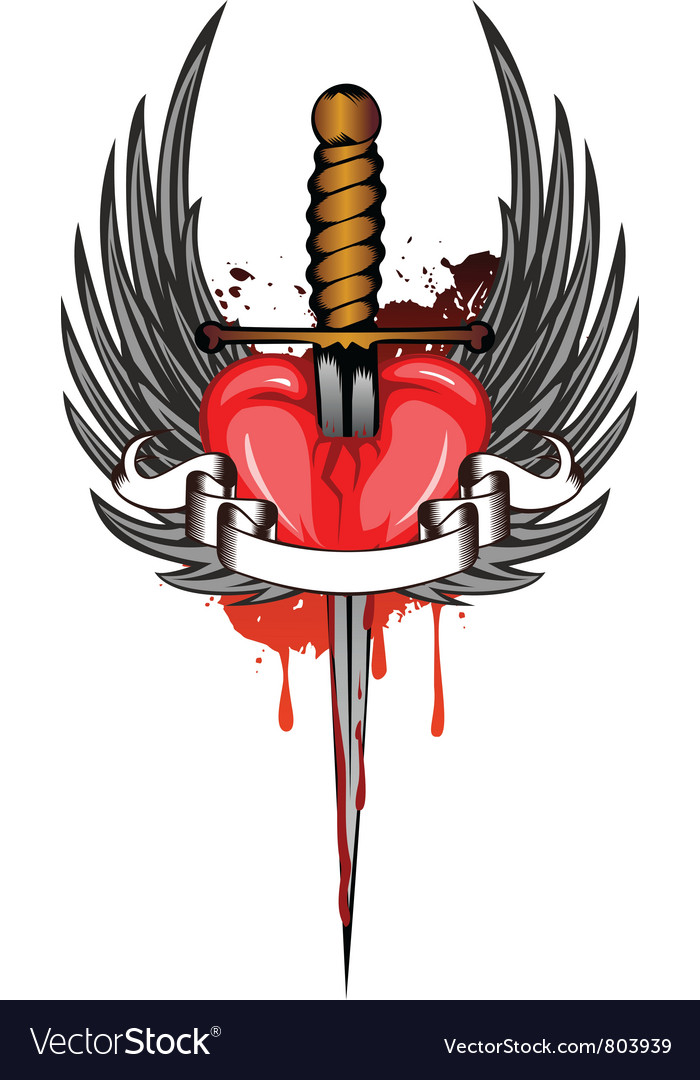 Heart and dagger vector