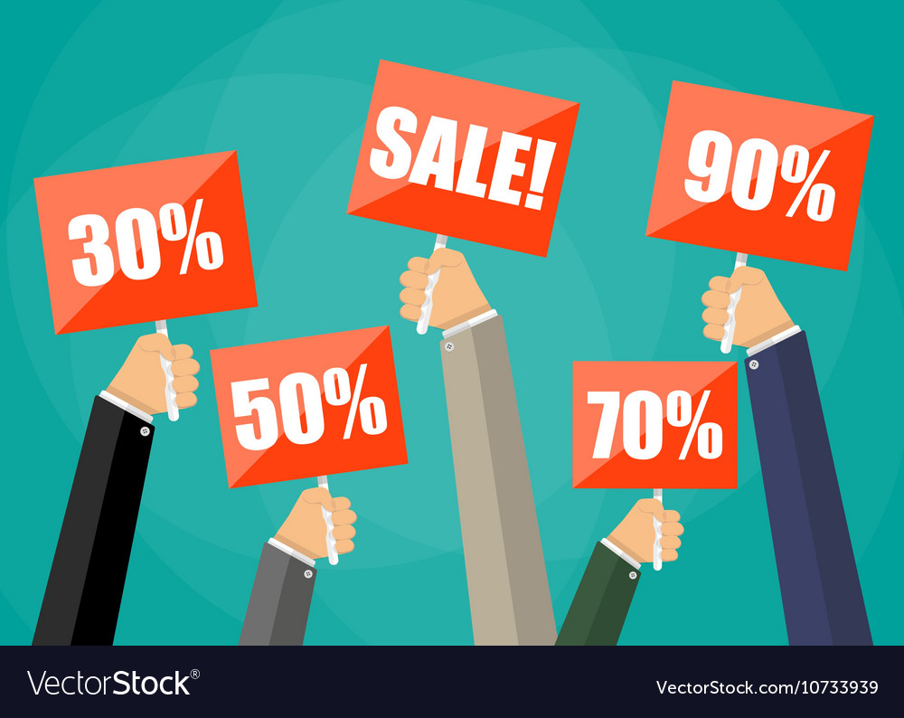 Holding red sign boards with the word sale vector