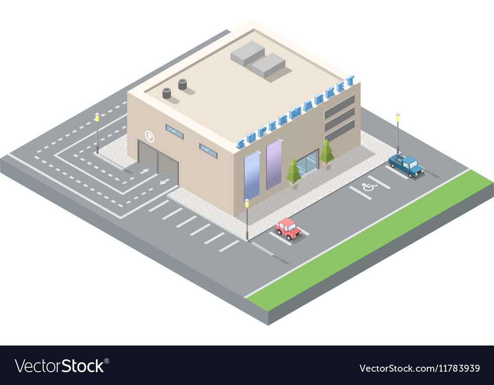 Isometric supermarket with car parking vector