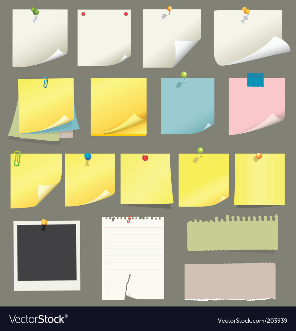 Note papers vector