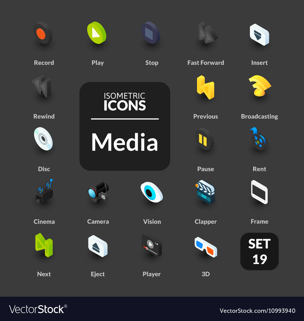 Color icons set in flat isometric vector