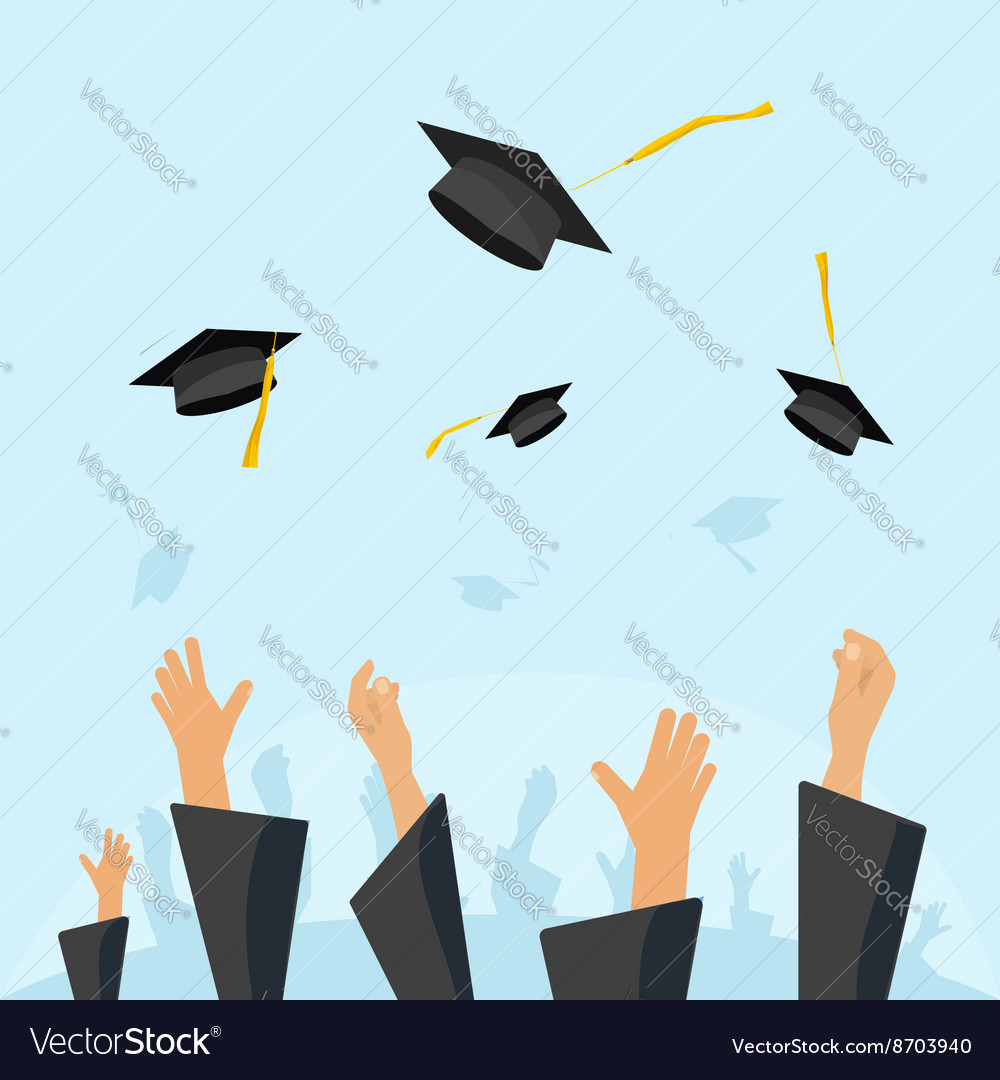 Graduating students pupil hands gown throwing caps vector