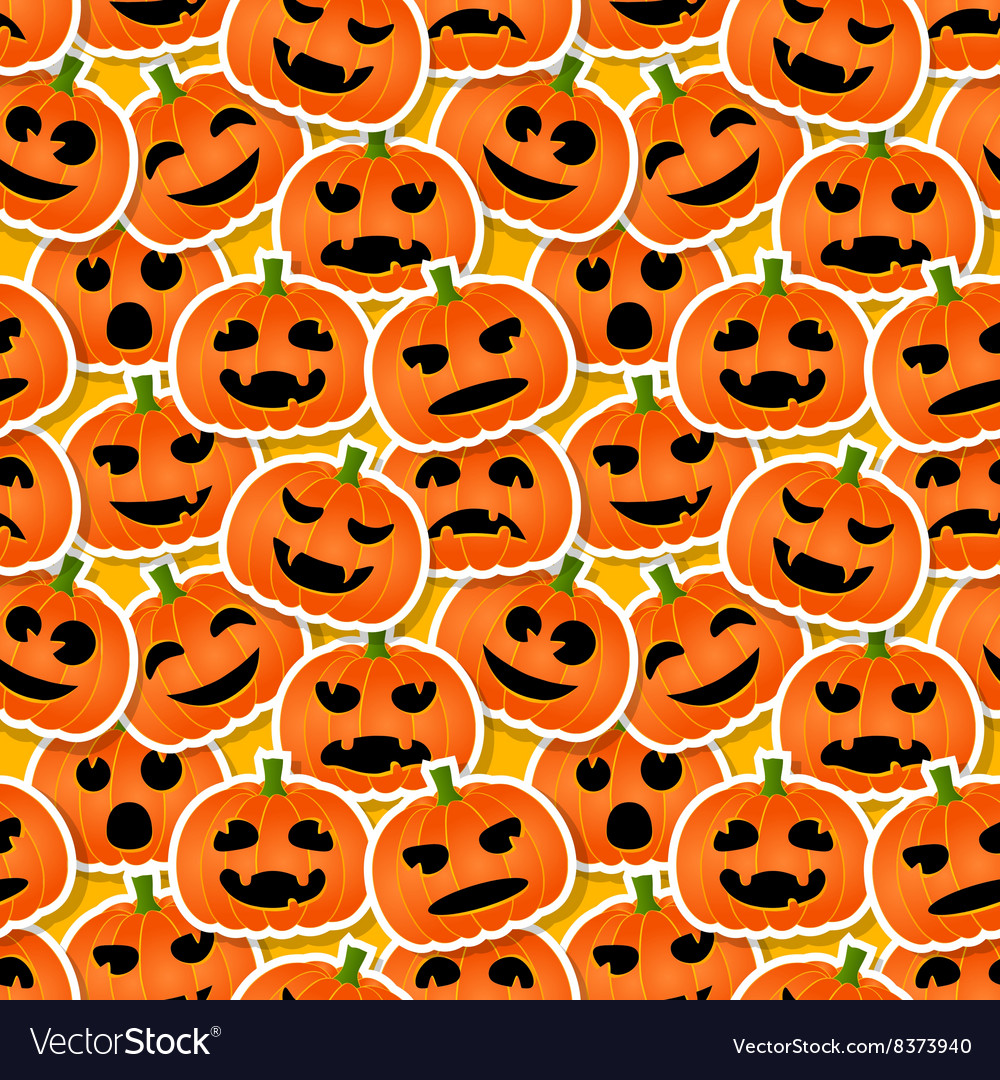 Halloween pumpkins  seamless pattern vector