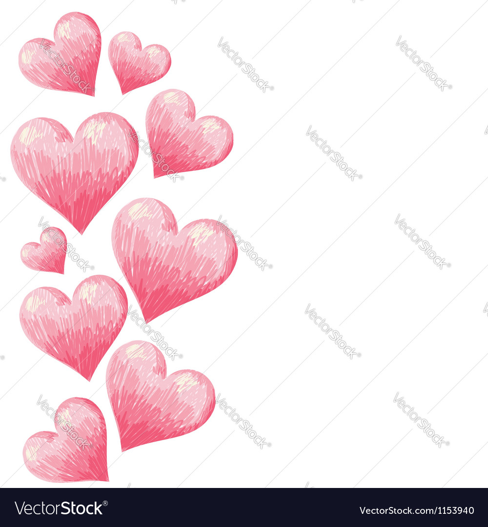 Hand drawn colorful valentine hearts border vector