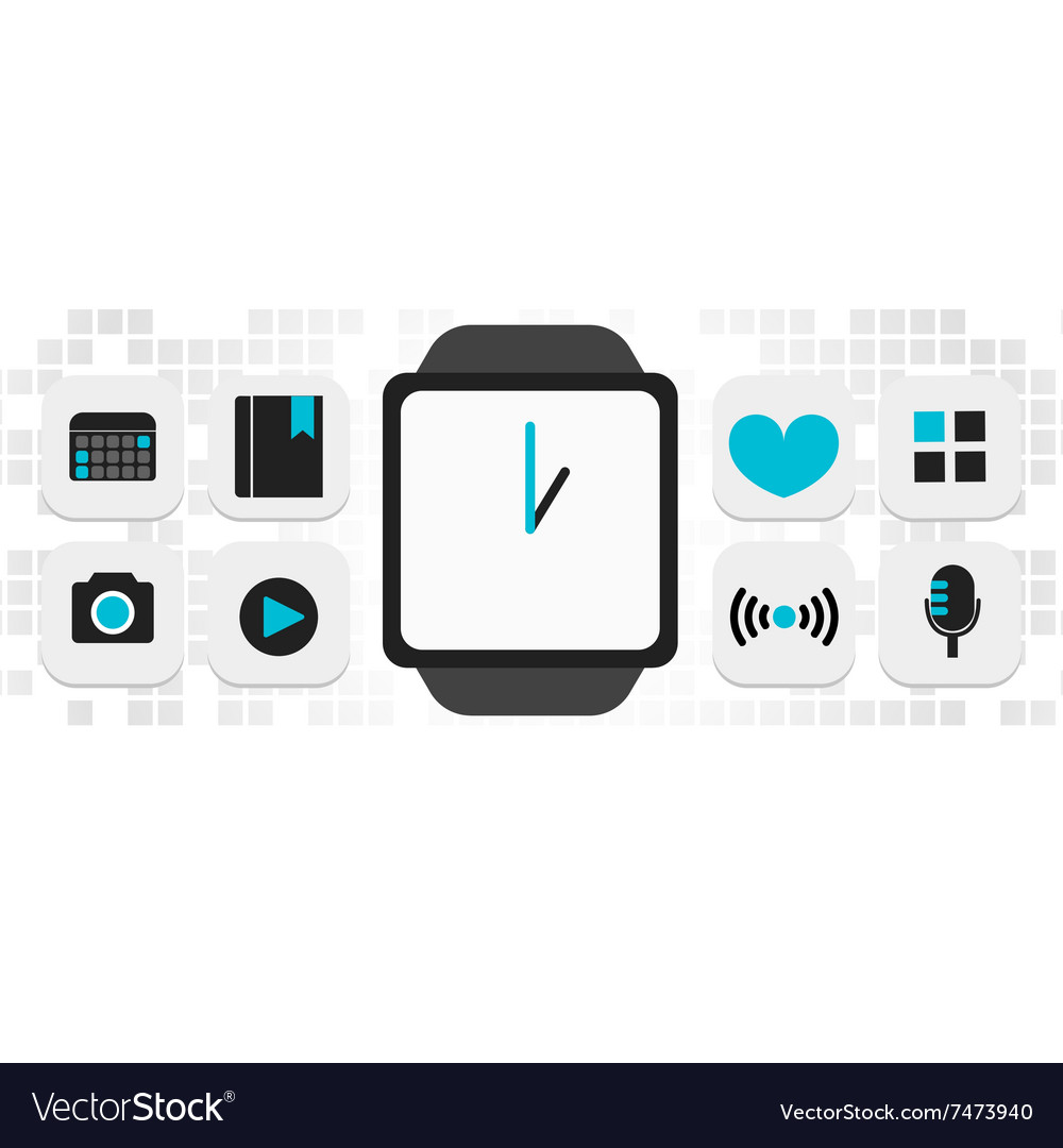 Smartwatch smart phone technology vector