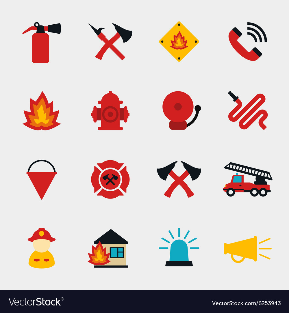 Fire fighter flat icons vector