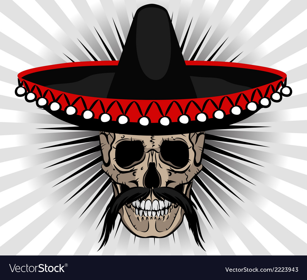 Skull mexican style with sombrero and mustache vector