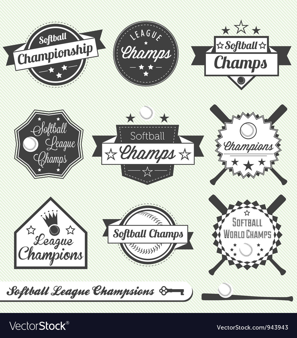 Softball champs labels vector