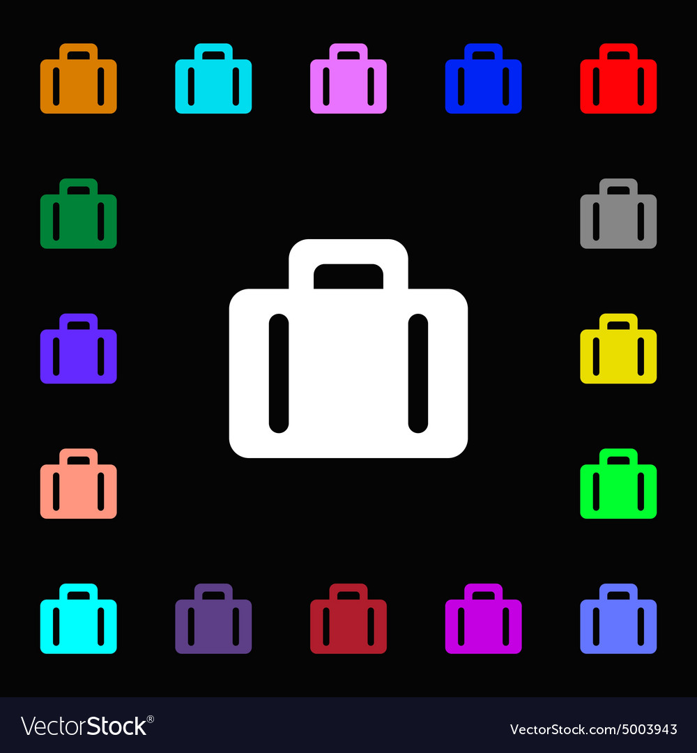 Suitcase icon sign lots of colorful symbols for vector