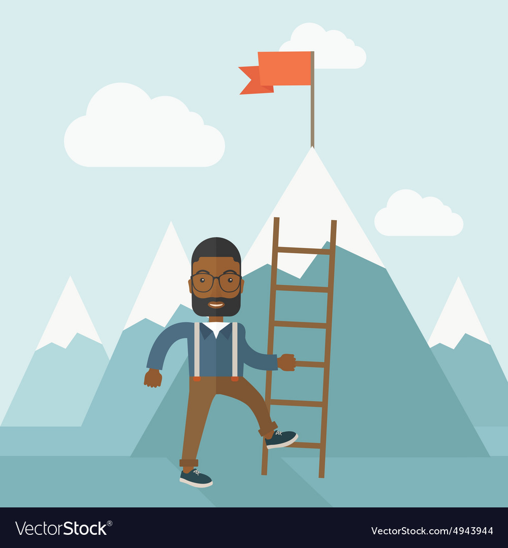 African man holding a ladder step for success vector