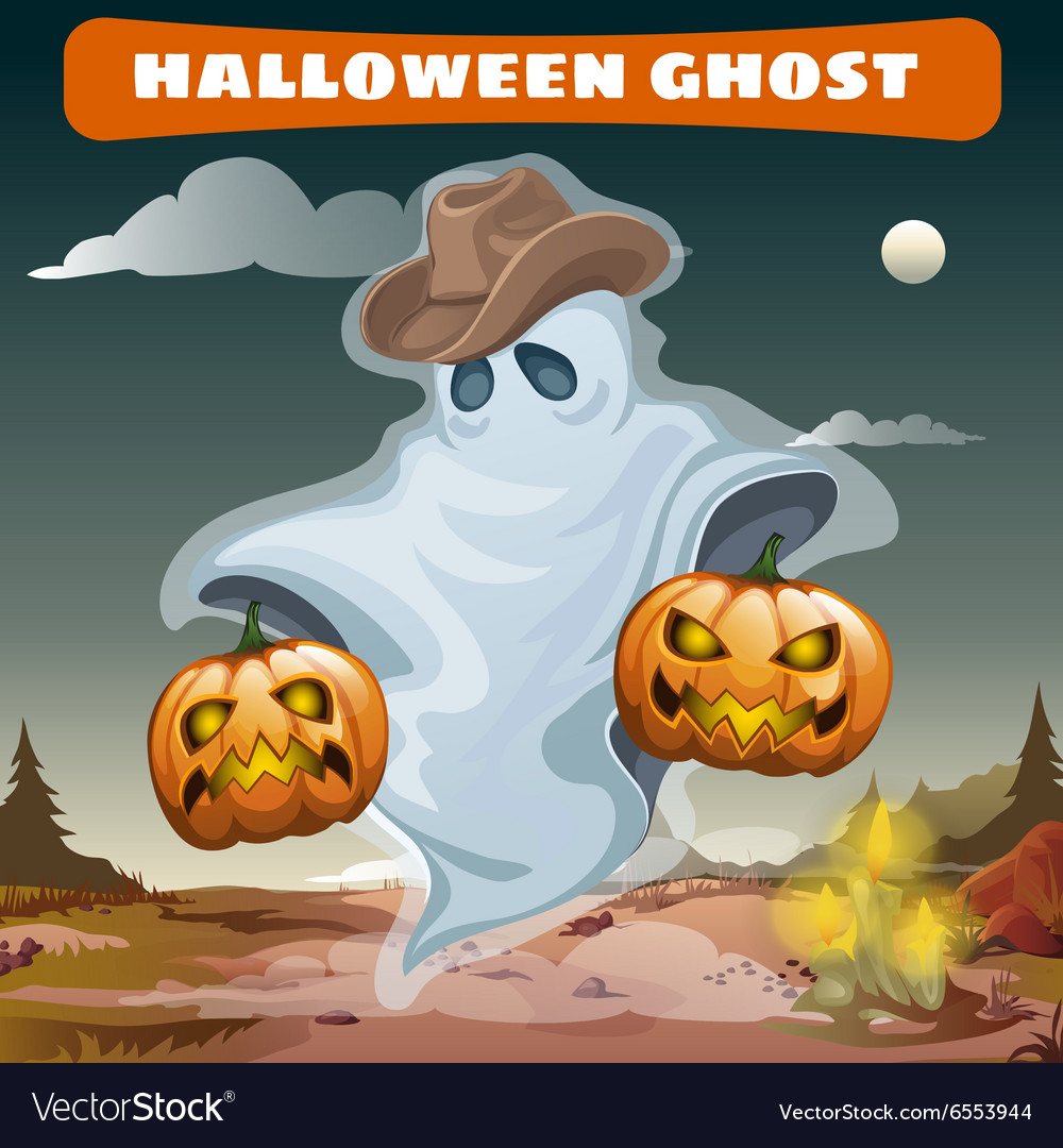 Ghost in cowboy hat with two evil pumpkins vector