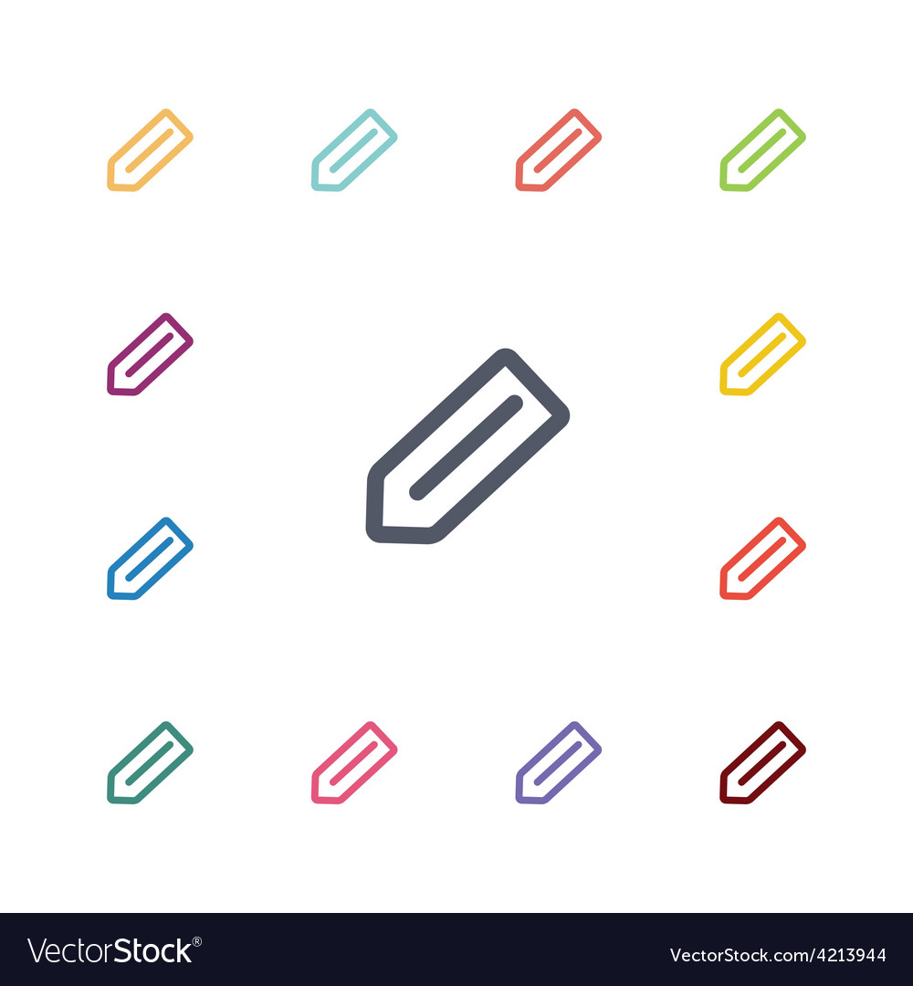Pencil flat icons set vector