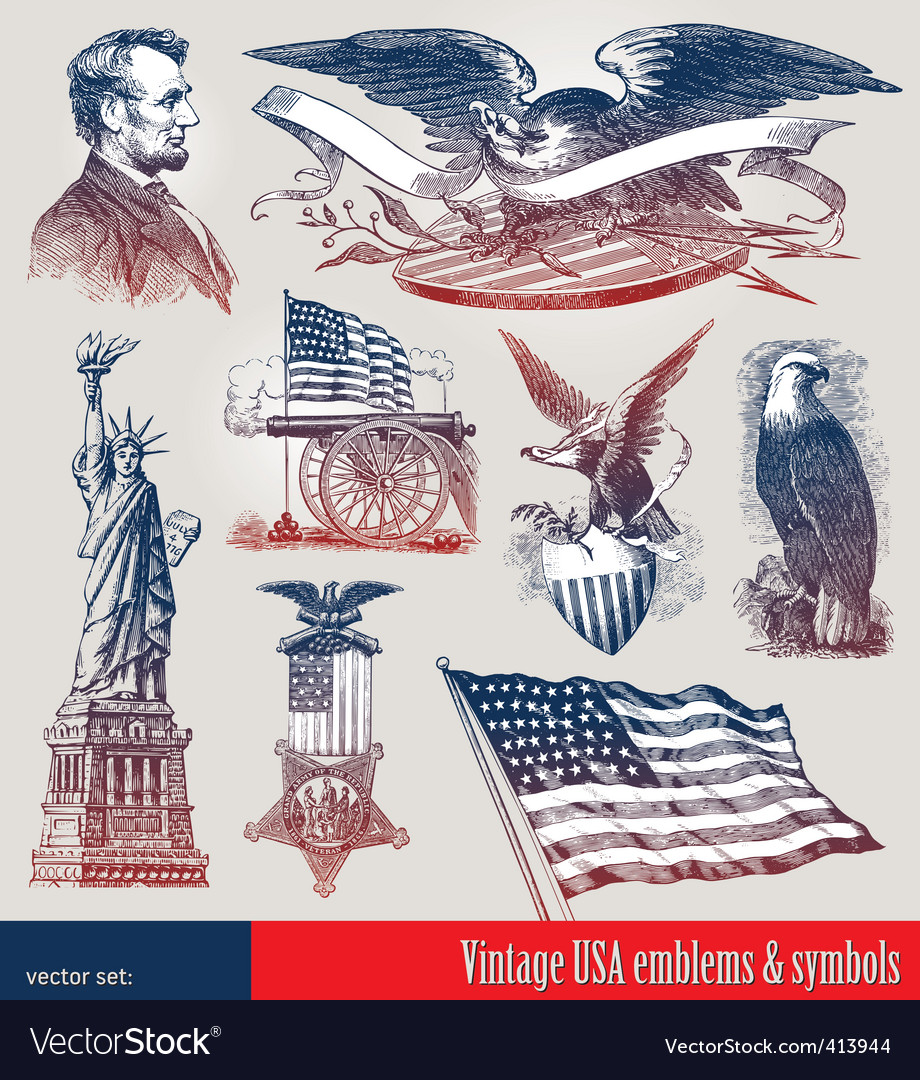 Set of american symbols vector