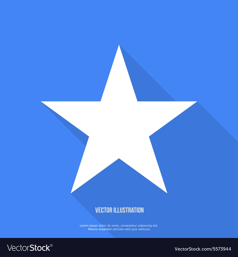 Star icon flat design with long shadow vector