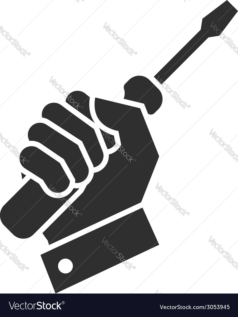 Hand turnscrew icon vector