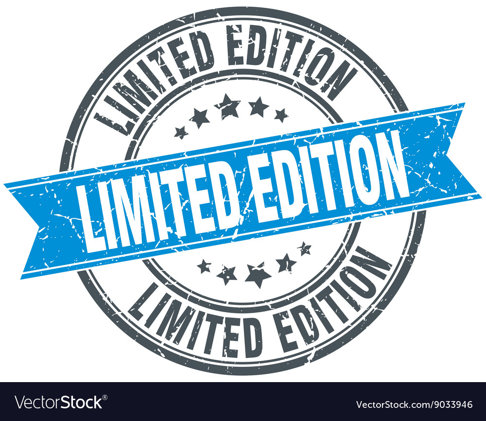 Limited edition blue round grunge vintage ribbon vector