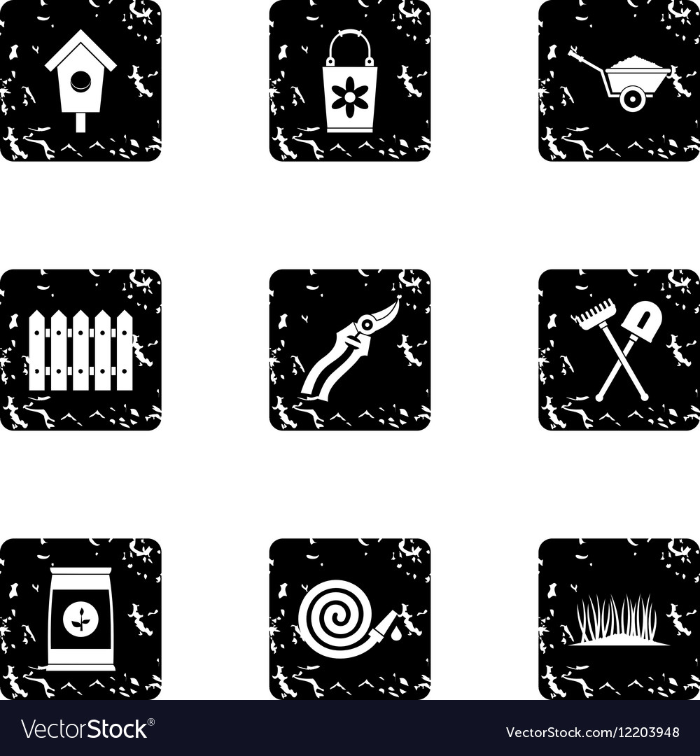 Farm icons set grunge style vector